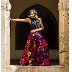 REVILED silk floral palazzo pant